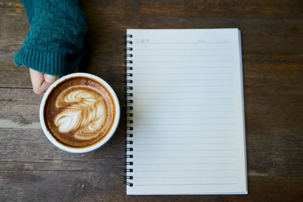 coffee and an empty notebook